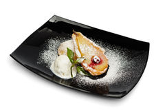 Baked Pear with Ice Cream Stock Image