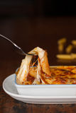 Baked penne pasta with tomato sauce and cheese Stock Image