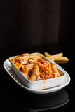 Baked penne pasta with tomato sauce and cheese Royalty Free Stock Photos