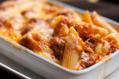Baked penne pasta with tomato sauce and cheese Royalty Free Stock Image