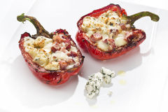 Baked peppers with cheese Stock Images