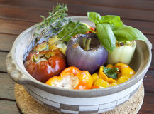 Baked peppers stuffed with goat and lamb cheese Stock Photos