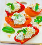 Baked pepperwith goat cheese Stock Images