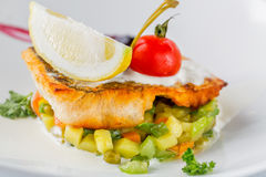 Baked perch fillet with tomato, lemon and vegetables on white plate. Close up image with selective focus royalty free stock image