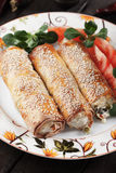 Baked phyllo pastry rolls Stock Photography