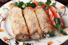 Baked phyylo pastry rolls Stock Photos