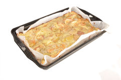 Baked pie in a baking sheet. The baked pie is on a paper in a baking sheet Royalty Free Stock Photo