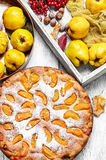 Baked pie with quince Stock Photos