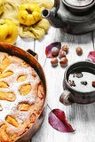 Baked pie with quince Stock Images