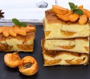 Baked pieces of biscuit pie with apricots Royalty Free Stock Images