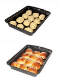 Baked pies  in a tray. Baked pies lie in a tray Royalty Free Stock Photography