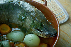 Baked pike in Finnish Stock Images