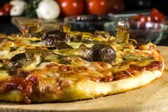 Baked pizza homemade with cheese and wild mushrooms royalty free stock photography