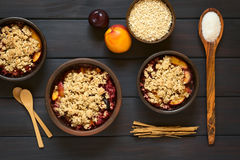 Baked Plum and Nectarine Crumble Stock Photography