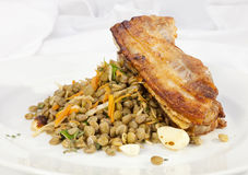 Baked Pork Belly with lentil Royalty Free Stock Images