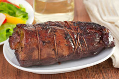 Baked pork on dish Royalty Free Stock Photography