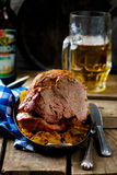 The baked pork gammon with sauerkraut Stock Photo