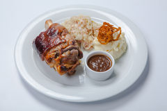 Baked pork knuckle served with braised cabbage Stock Image
