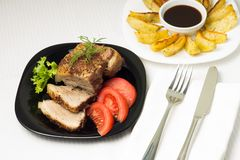Baked Pork Meat served with Grilled Potato Stock Photography