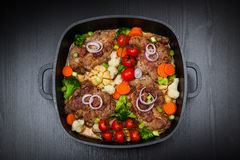 Baked pork meat with vegetable Royalty Free Stock Images