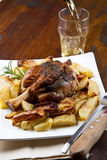 Baked pork shank with sauerkraut royalty free stock image