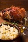 Baked pork shank. With sauerkraut Royalty Free Stock Photo