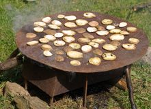Baked potato. The potato cut by chunks is baked on iron sheet, on the nature Stock Images