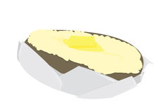Baked Potato. Split open with a pat of butter in foil on a white background stock illustration
