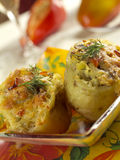 Baked potato. Two baked potato stuffed with mushrooms and cheese Stock Images