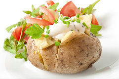 Baked potato. Filled with sour cream and arugula Stock Images