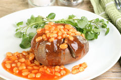 Baked potato. Baked jacket potato with baked beans Royalty Free Stock Image
