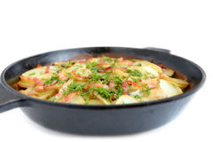 Baked potato with bacon and dill Stock Photography