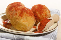 Baked potato balls with paprika powder Royalty Free Stock Photo