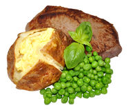 Baked Potato And Beef Steak Meal Royalty Free Stock Images