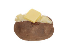 baked potato with butter. On white background Royalty Free Stock Images