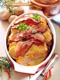 Baked potato, cabbage and chicken casserole. royalty free stock image