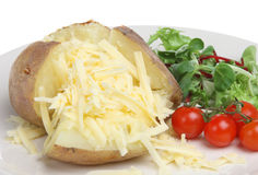 Baked Potato with Cheddar Cheese. Baked potato stuffed with grated cheddar cheese and salad Royalty Free Stock Photos