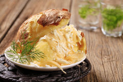 Baked potato with cheese Royalty Free Stock Photography