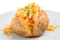 Baked Potato with Cheese. Baked potato with Cheddar and Red Leicester cheeses Royalty Free Stock Photography