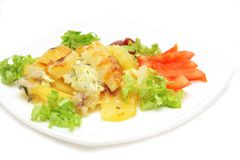 Baked potato with cheese and vegetables Stock Photo