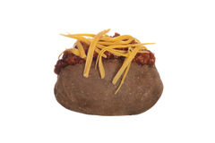 baked potato with chili and cheese. On white background Royalty Free Stock Photography