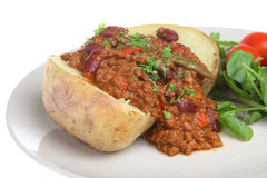 Baked Potato with Chilli con Carne Stock Image