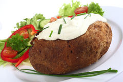 Baked potato with cottage cheese Stock Photos