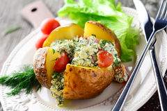 Baked potato with cottage cheese Royalty Free Stock Image