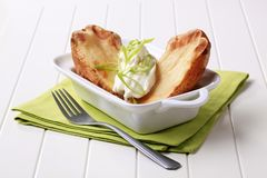 Baked potato and cream cheese Stock Photos