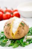 Baked potato with cream sauce Stock Photo
