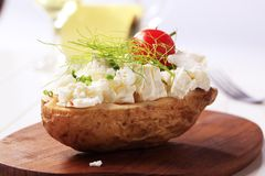 Baked potato and curd cheese Stock Images