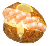 Baked Potato Filled With Prawns Royalty Free Stock Photography