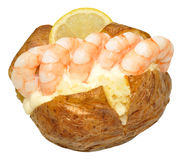 Baked Potato Filled With Prawns Royalty Free Stock Photo