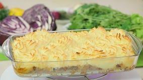 Baked potato gratin stock footage